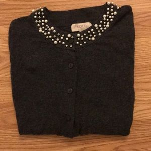Loft Bead & Pearl Collar Cardigan (Charcoal Gray)